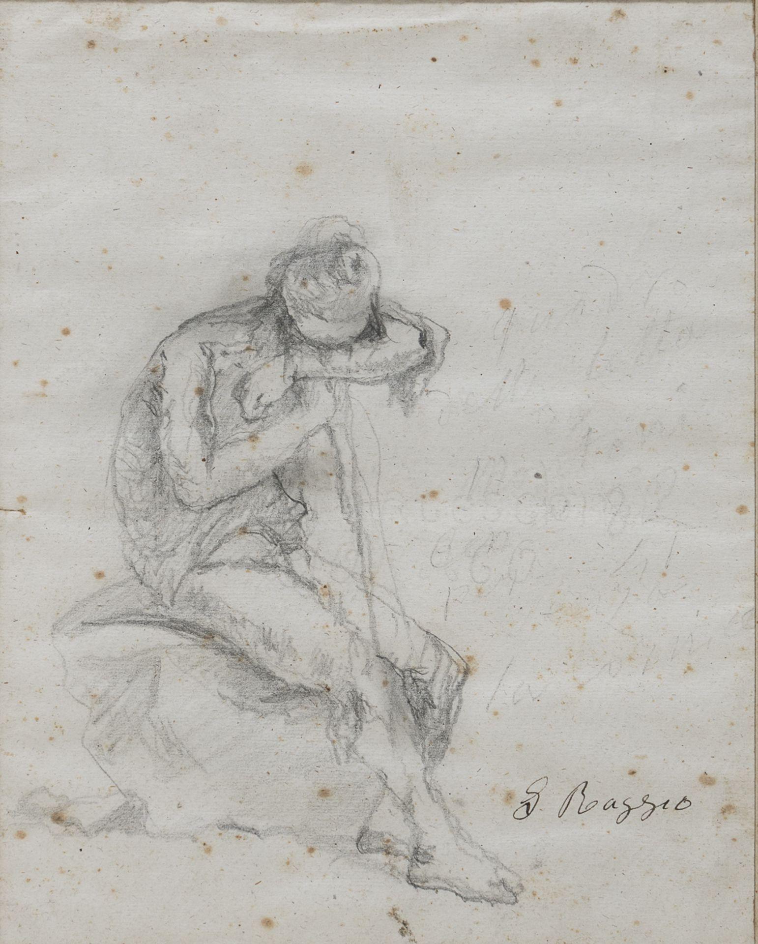 PENCIL DRAWING OF A SITTING SHEPHERD SIGNED 'G. RAGGIO' 19TH CENTURY