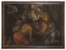 OIL PAINTING ADORATION OF THE SHEPHERDS BY VENETO PAINTER 17TH CENTURY
