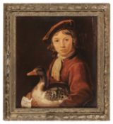 OIL PAINTING OF YOUNG MAN WITH GOOSE 20TH CENTURY