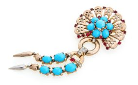 TRIFARI BROOCH WITH GLASS PASTE AND ZIRCONIA
