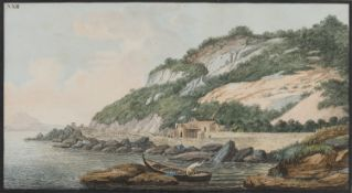 WATERCOLOR OF FISHERMEN GREEK SCHOOL 19TH CENTURY