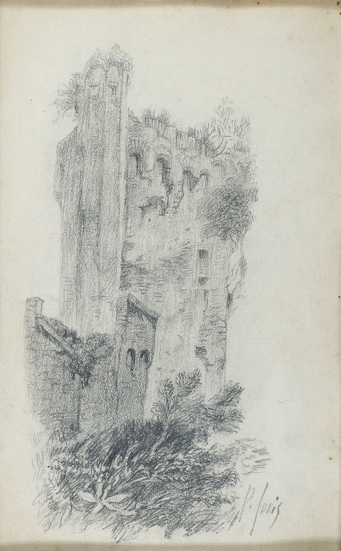 PENCIL DRAWING OF RUINS BY PIO JORIS (1843-1921)