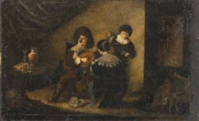 OIL PAINTING ON IVORY MUSICIAN NORDIC SCHOOL 19TH CENTURY