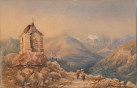 WATERCOLOR OF ALPINE LANDSCAPE 19TH CENTURY
