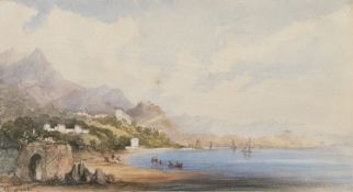 WATERCOLOR OF THE GAETA'S DOCK 19TH CENTURY