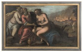 OIL PAINTING LOTH AND THE DAUGHTERS ATT. TO JACOPO PALMA THE YOUNG