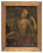 OIL PAINTING ON ENGRAVING APPLIED TO GLASS LATE 18TH CENTURY