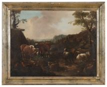 OIL LANDSCAPES WITH SHEPHERDS 18TH CENTURY