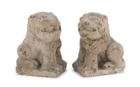 PAIR OF STONE LIONS GOTHIC PERIOD