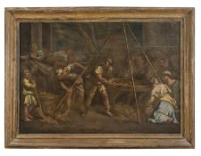 GENOESE OIL PAINTING OF BIBLICAL EPISODE 17TH CENTURY
