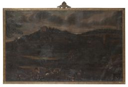 NEAPOLITAN OIL LANDSCAPE WITH SHEPHERD AND HERD OF 17TH CENTURY