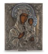 RUSSIAN ICON WITH ENAMELED SILVER RIZA 20TH CENTURY