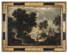 OIL LANDSCAPE WITH WALKERS FROM THE WORKSHOP OF ALESSIO DE MARCHIS