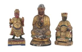 THREE CHINESE LAQUERED AND GILT WOOD SCULPTURES OF BUDDHA, LOKAPALA AND GUANDI. 20TH CENTURY