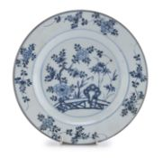 A CHINESE WHITE AND BLUE PORCELAIN DISH LATE 18TH CENTURY.