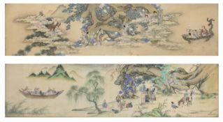 CHINESE SCHOOL 18TH CENTURY. IMMORTAL TAOISTS. PAIR OF MIXED MEDIA ON SILK.