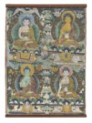 CHINESE SCHOOL 19TH CENTURY. BUDDHA MUDRA. TIBETAN THANGKA IN TEMPERA ON SILK.