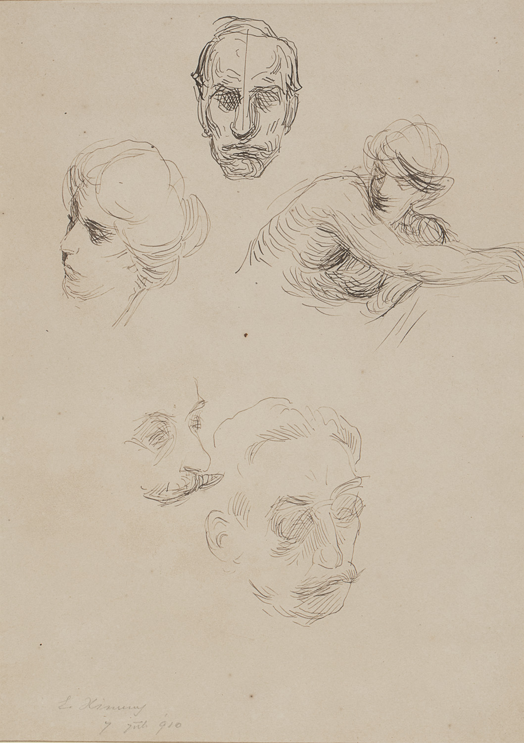 INK DRAWING ON PAPER BY ETTORE XIMENES 1910