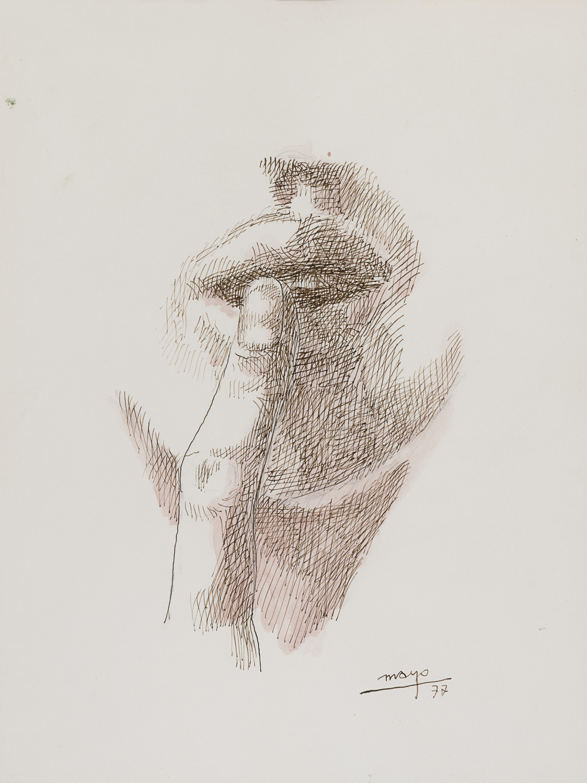 INK AND WATERCOLOR BY ANTOINE MALLIARAKIS 1977