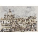 WATERCOLOR ROOFS OF ROME 20TH CENTURY
