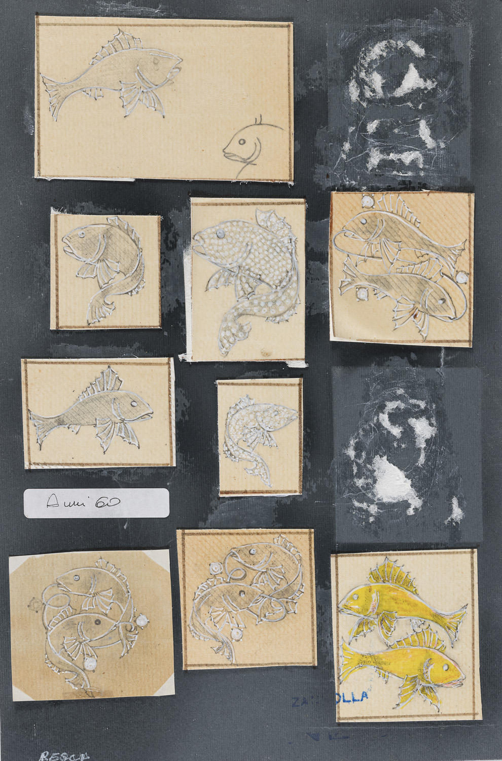 NINE MIXED MEDIA AND A MOLD BY CESARE ZANCOLLA 1960's
