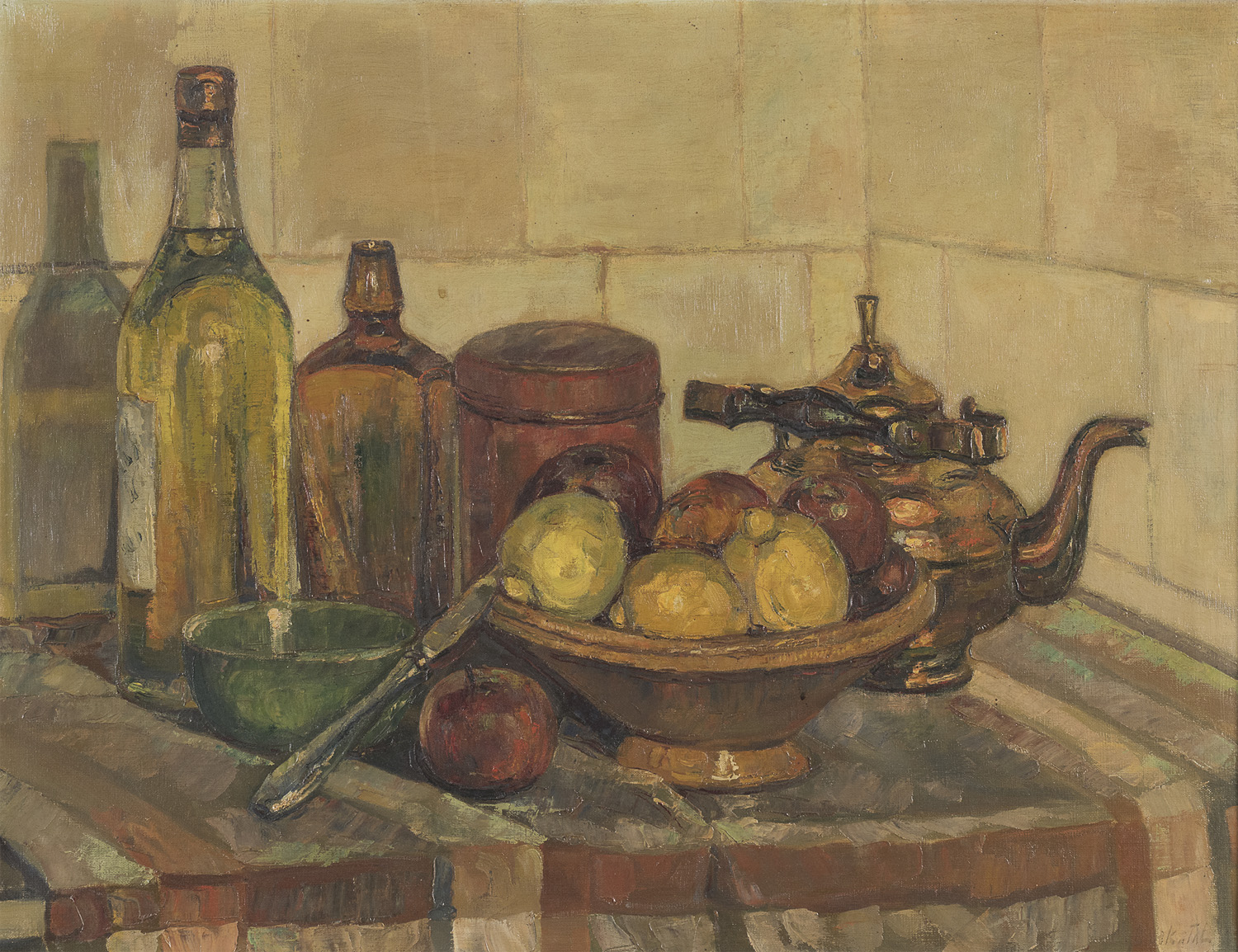 OIL STILL LIFE BY RUSSIAN PAINTER 20TH CENTURY
