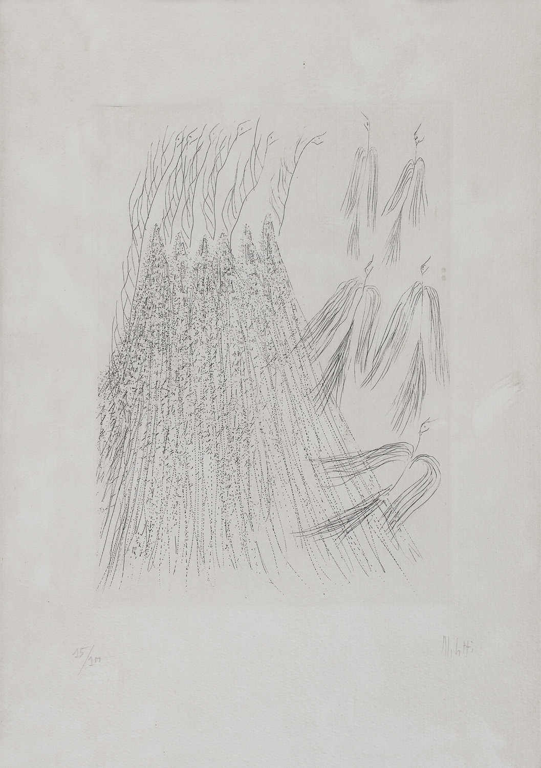 TWO ENGRAVINGS BY FAUSTO MELOTTI 1977