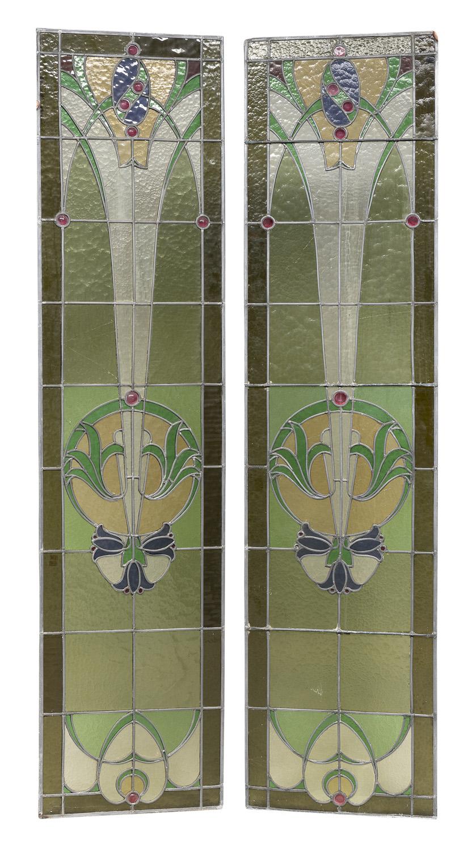 PAIR OF LEADED GLASS WINDOWS ART NOUVEAU STYLE 20TH CENTURY