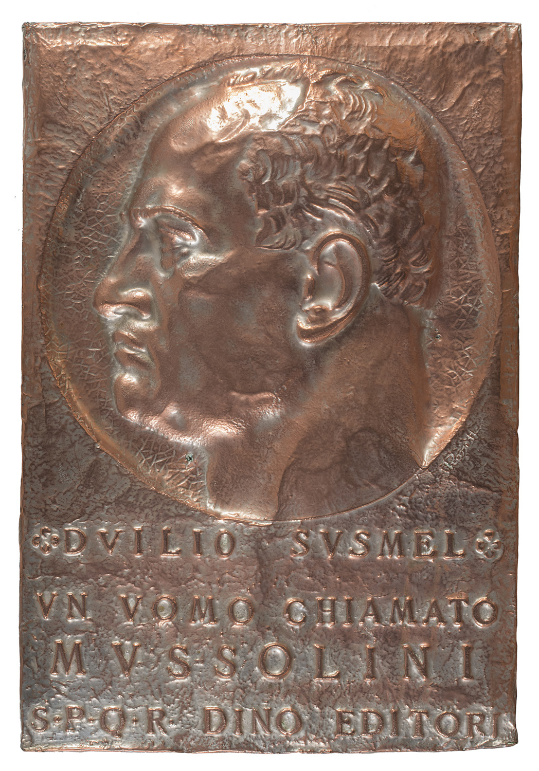 GILDED COPPER COVER WITH MUSSOLINI BAS-RELIEF