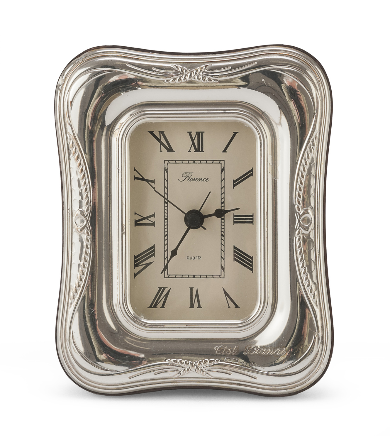 TABLE CLOCK WITH SILVER FRAME FLORENCE POST 1968