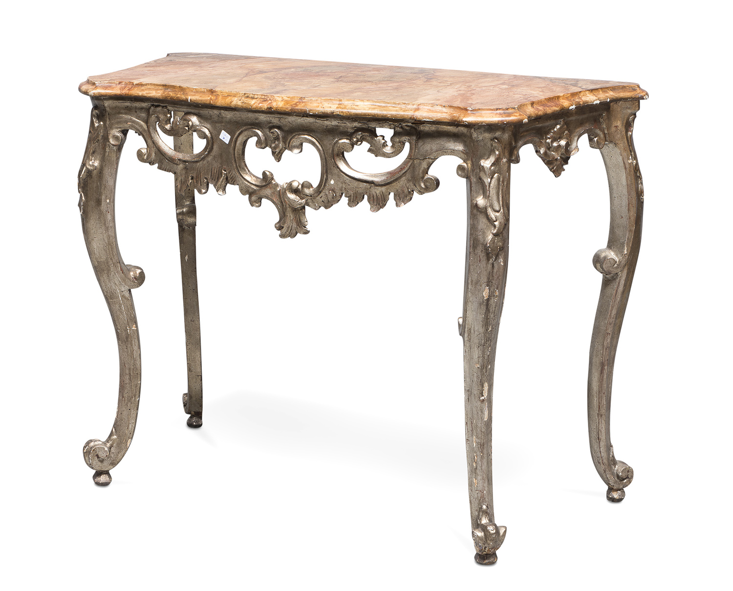 SMALL CONSOLE IN SILVERED WOOD ELEMENTS OF THE 18th CENTURY