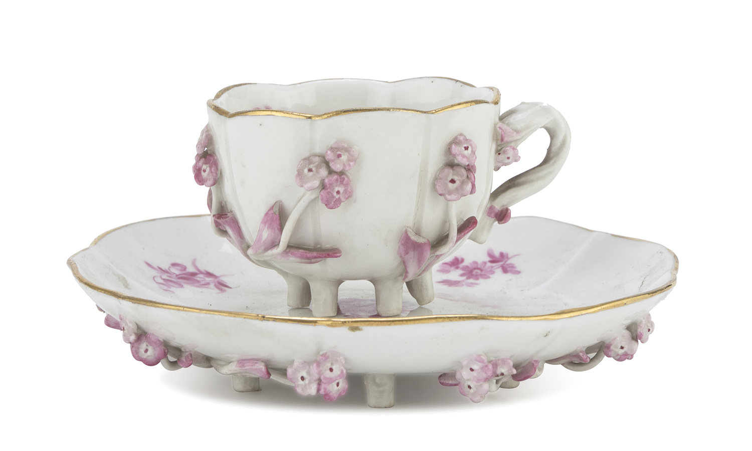 PORCELAIN CUP AND SAUCER PROBABLY PARIS LATE 19th CENTURY