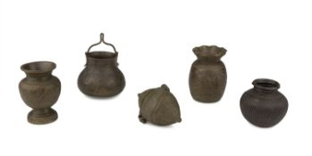 FIVE SMALL BRONZE CONTAINERS INDIA FIRST HALF OF THE 20TH CENTURY