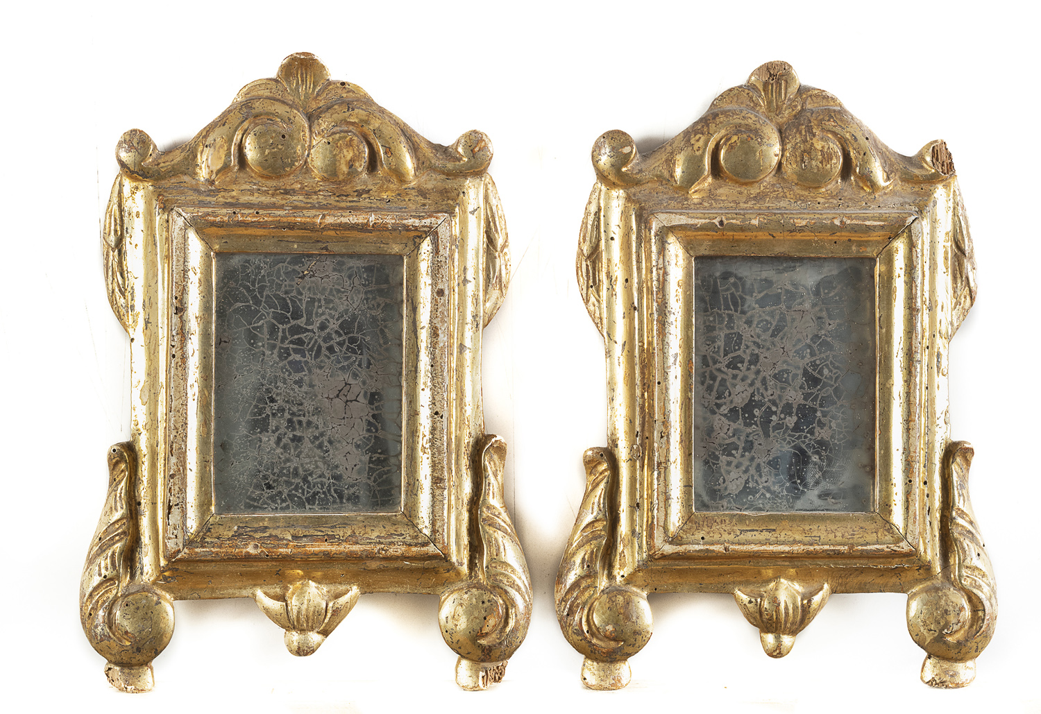 PAIR OF GILTWOOD MIRRORS NAPLES LATE 18th CENTURY