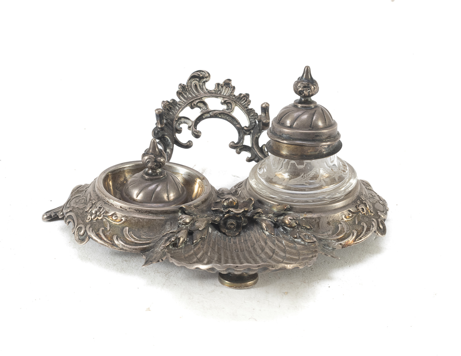 SMALL SILVER-PLATED INKWELL EARLY 20TH CENTURY