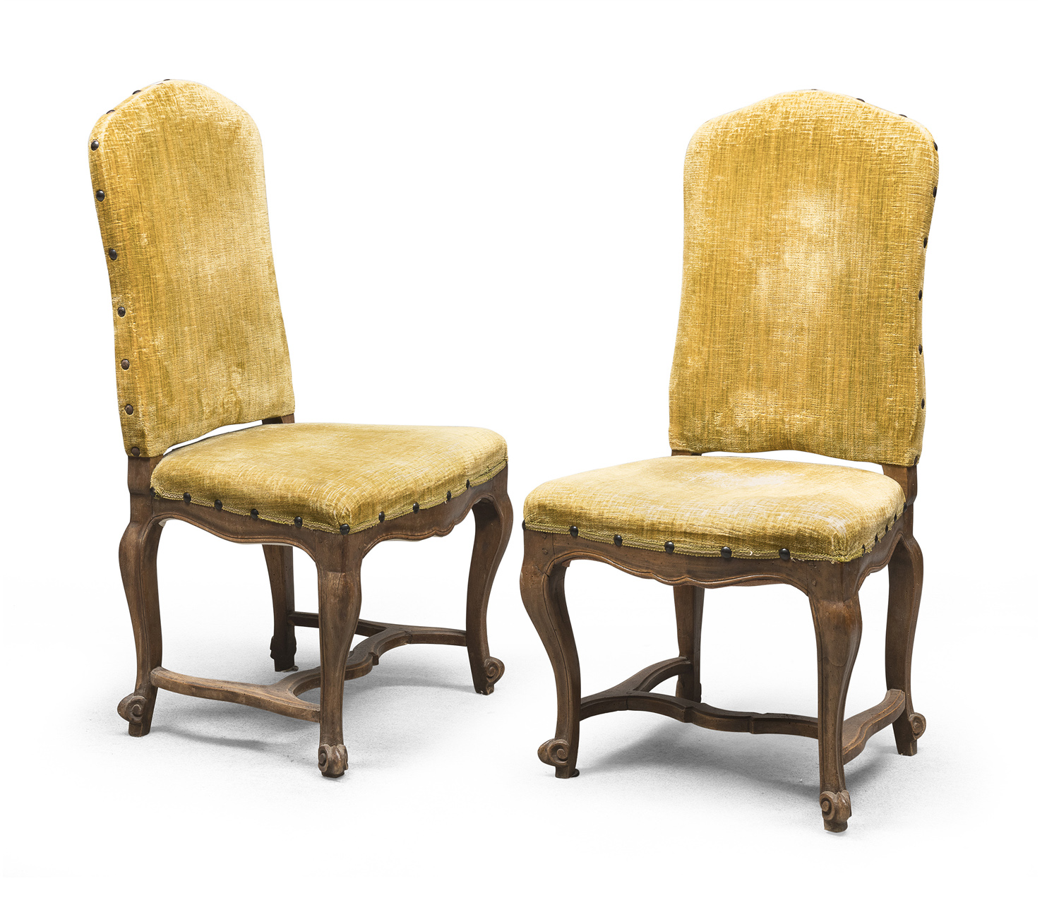 PAIR OF WALNUT CHAIRS NORTHERN ITALY ANTIQUE ELEMENTS