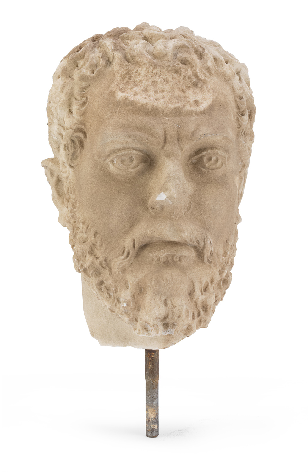HEAD IN WHITE MARBLE 20th CENTURY