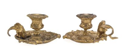 BEAUTIFUL PAIR OF SMALL CANDLESTICKS IN GILDED BRONZE 19th CENTURY
