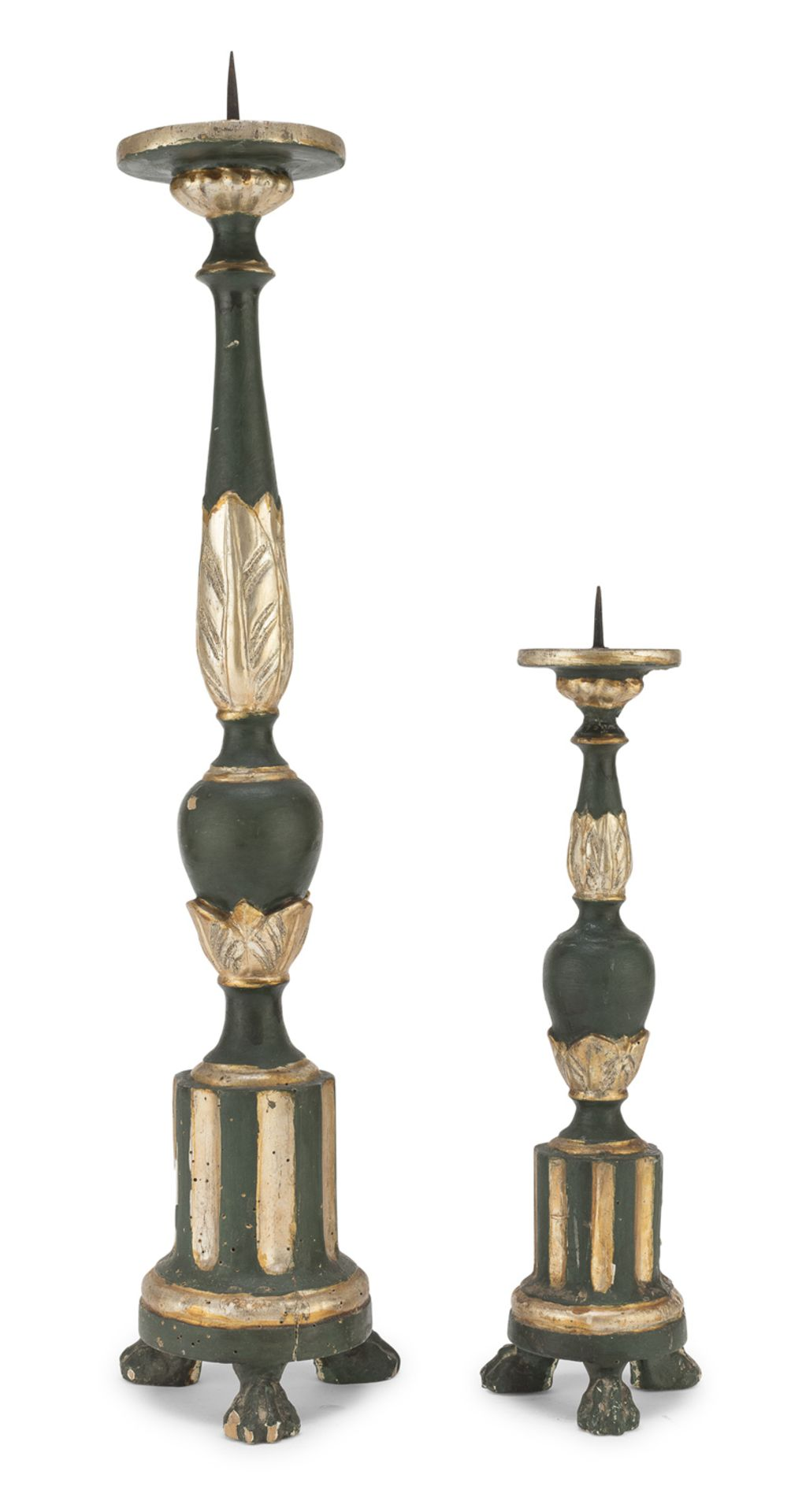 TWO CANDLESTICKS IN LACQUERED WOOD LATE 18th CENTURY