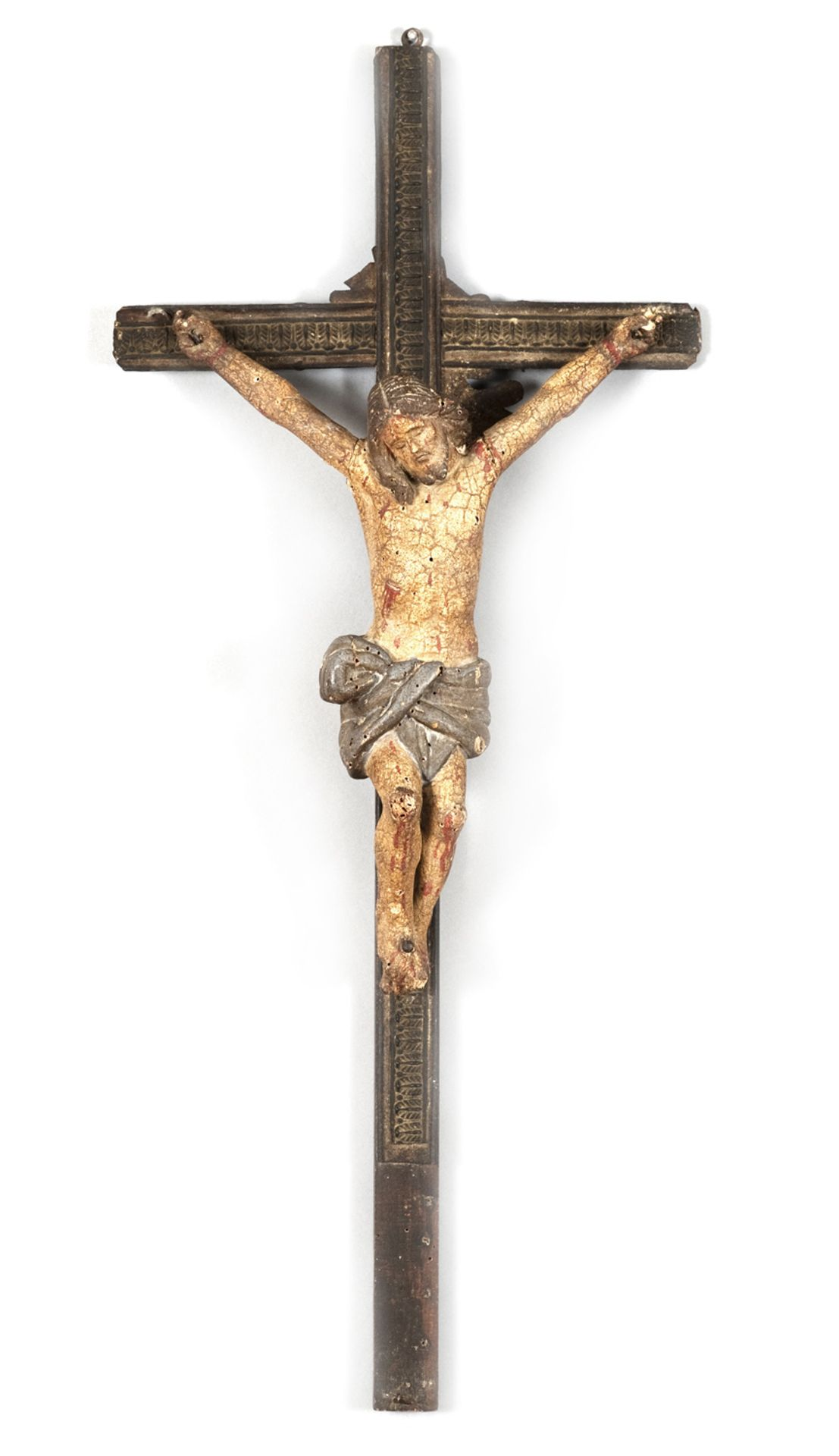 WOODEN CRUCIFIX PROBABLY SPAIN 18th CENTURY