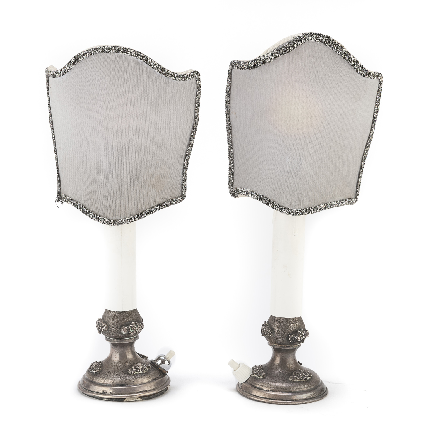PAIR OF SMALL SILVER LAMPS ITALY 20th CENTURY