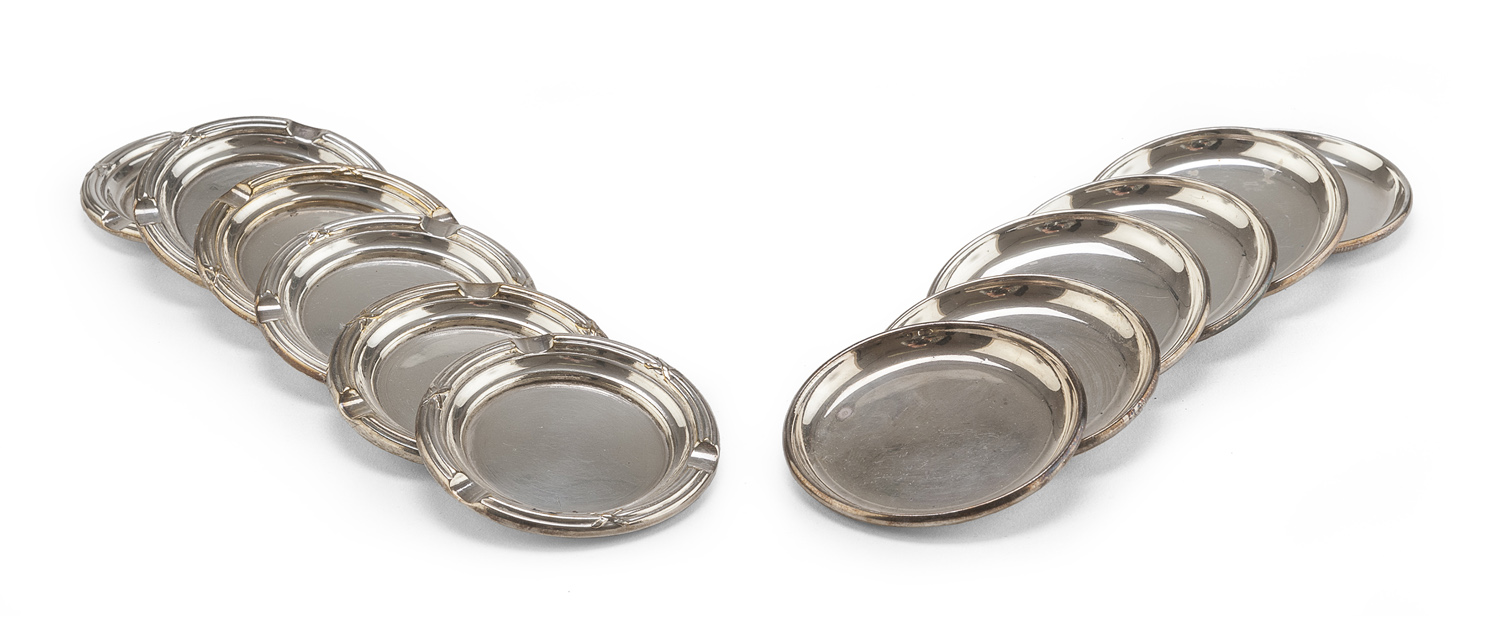 SIX ASHTRAYS AND SIX COASTERS IN SILVER-PLATED METAL ITALY 20th CENTURY