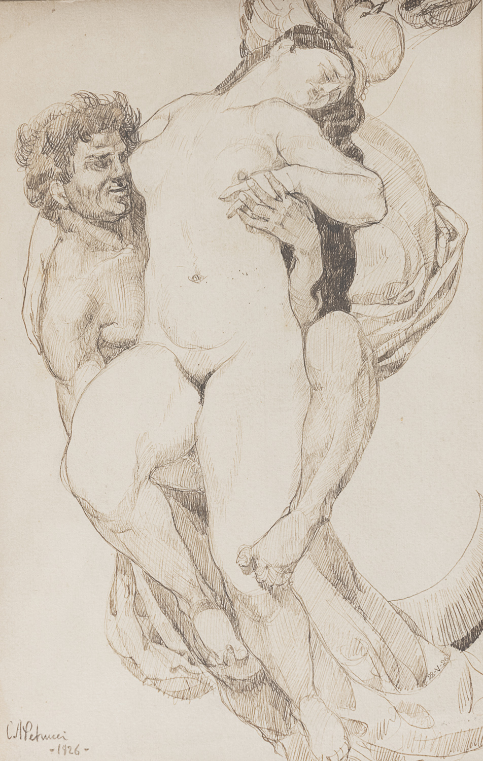 PAIR OF INK DRAWINGS BY CARLO ALBERTO PETRUCCI 19TH.20TH CENTURY - Image 2 of 2