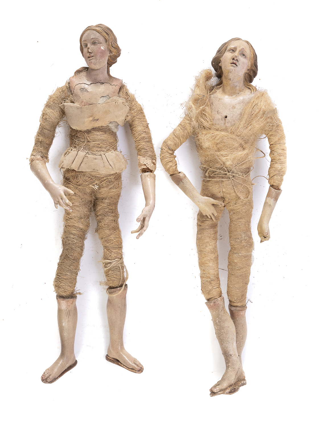 REMAINS OF TWO CRIB FIGURES NAPLES END OF 18TH BEGINNING OF 19TH CENTURY