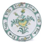 LARGE MAJOLICA PLATE 19th CENTURY BELL WORKSHOP