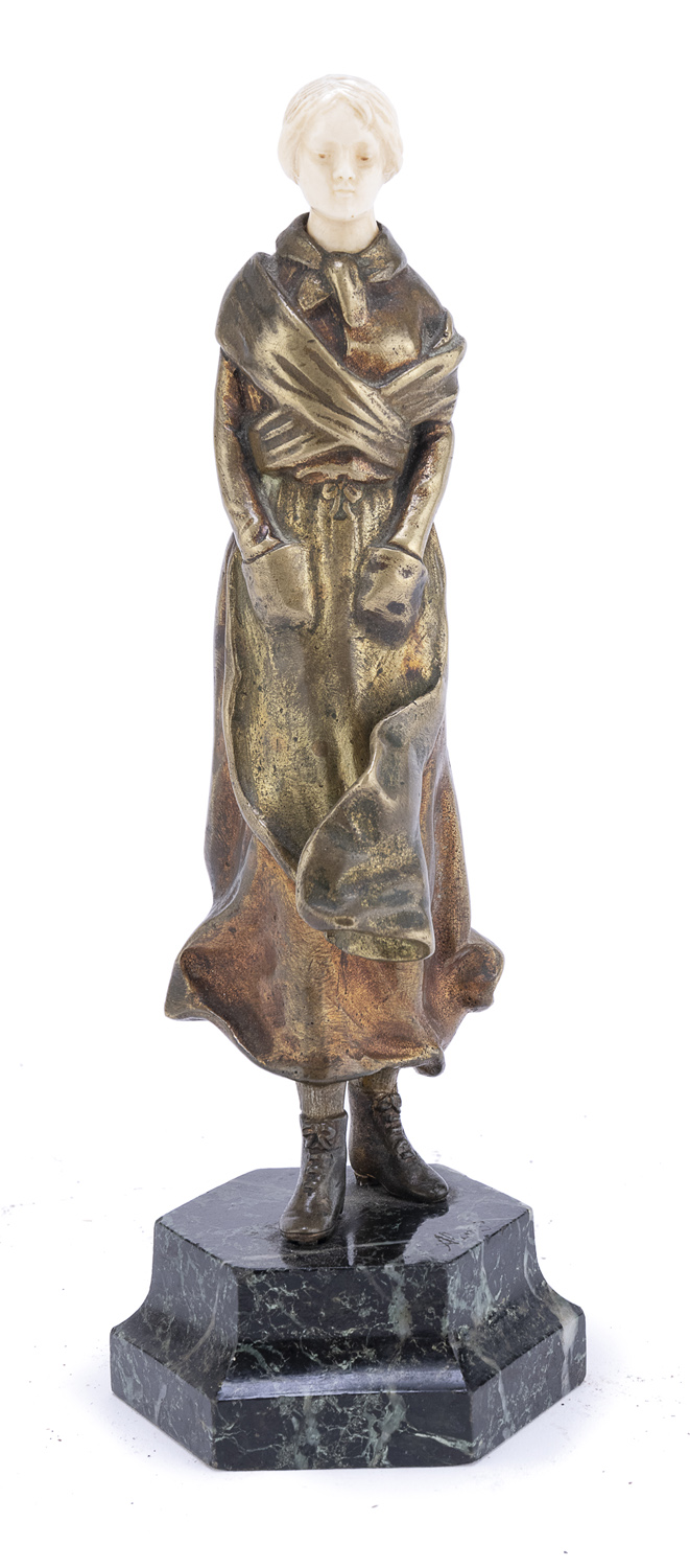 SMALL BRONZE AND IVORY SCULPTURE EARLY 20TH CENTURY