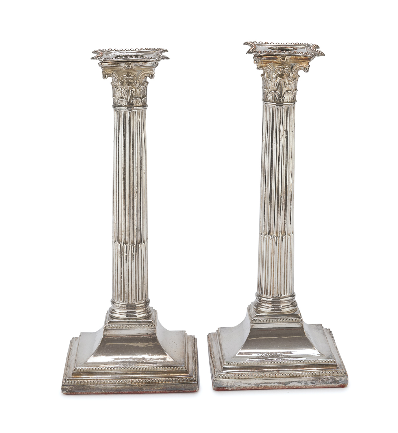 PAIR OF SILVER-PLATED CANDLESTICKS PROBABLY ITALY EARLY 20TH CENTURY