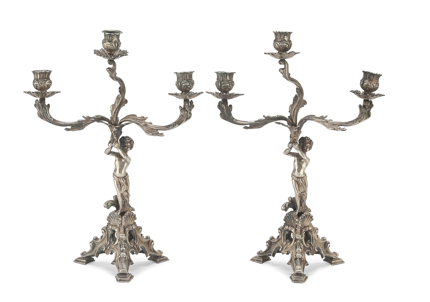 PAIR OF SILVER CANDLESTICKS ITALY EARLY 20TH CENTURY