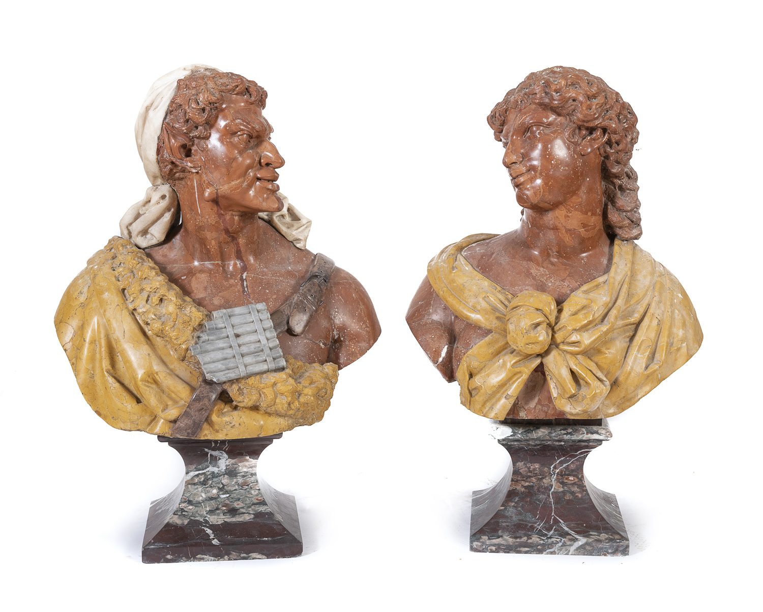 BEAUTIFUL PAIR OF MARBLE BUSTS 18th CENTURY