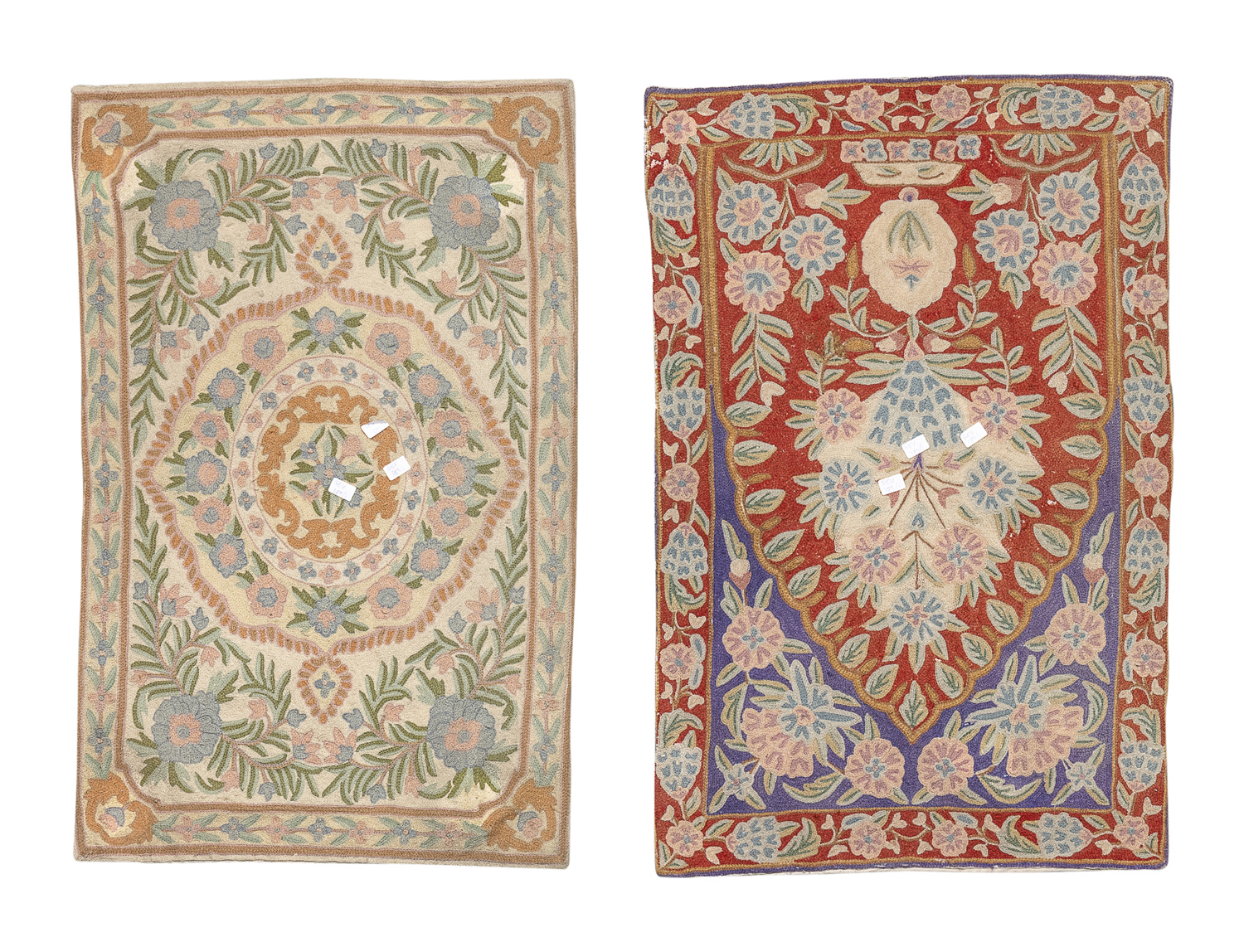 PAIR OF SMALL CARPETS PROBABLY INDIA 20TH CENTURY